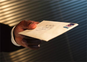 mail in the hand