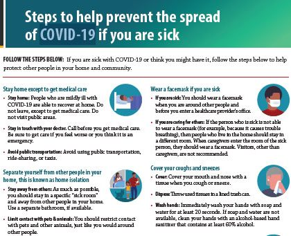Steps to help prevent the spread of COVID-19 if you are sick